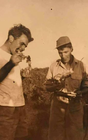 86th-FS-William-R.-Taylor-left-and-Henry-W.-Kent-enjoying-BBQ-at-Pisticci-LG-Italy.-John-McNeal-collection-via-the-McNeal-Family