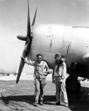 85th-FS-Flight-Chief-Montie-Whittenberg-lt-and-79th-FG-CO-John-Martin-in-front-of-Martins-P-47.-Montie-Whittenberg-collection-via-Ron-Whittenberg