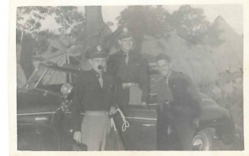 85th-FS-pilots-William-Abbott-John-Martin-and-Bird-Dog-maybe-Franklin-Johnson-by-Martins-car-at-Bedford-MA.-Samuel-L.-Say-collection-via-family