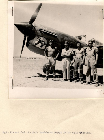 86th-FS-John-Jack-Gumbleton-Crew-Chief-Gerald-Ervin-Armorer-Albin-Krezel-and-Thomas-OBrien-next-to-a-P-40-named-Lucky-Lady.-AFHRA-photograph