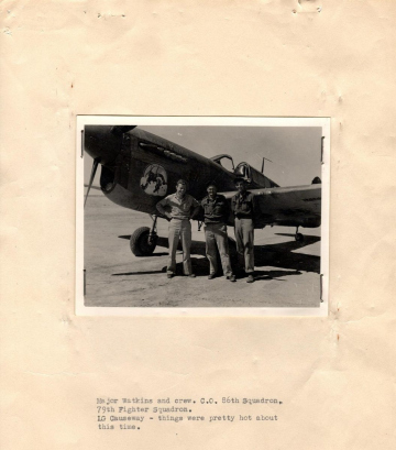 86th-FS-Tarleton-Watkins-and-crew-in-front-of-P-40-named-LONESOME-POLECAT.-AFHRA-photograph