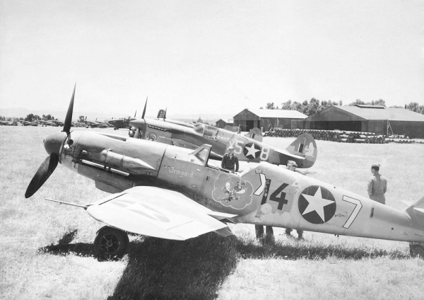 87th-FS-captured-Bf-109-named-Irmgard-with-86th-FS-P-40-in-background.-Project-914-Archives-S.-Donacik-collection