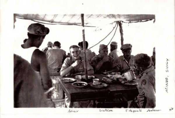 87th-FS-pilots-Asa-Adair-Morris-Watkins-Edward-Fitzgerald-and-Wyman-Anderson-at-Mineo-Sicily.-Bruce-Lowell-photograph