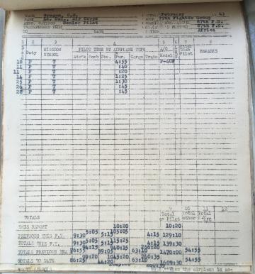 87th-FS-Charles-Grogan-flight-log-February-1943-via-Steve-Grogan