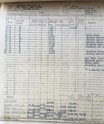 87th-FS-Charles-Grogan-flight-log-June-1943-via-Steve-Grogan