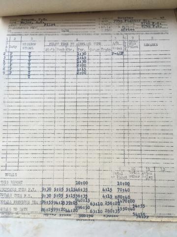 87th-FS-Charles-Grogan-flight-log-October-1942-via-Steve-Grogan
