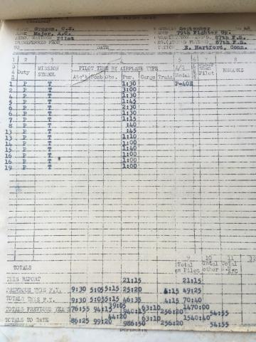 87th-FS-Charles-Grogan-flight-log-September-1942-via-Steve-Grogan
