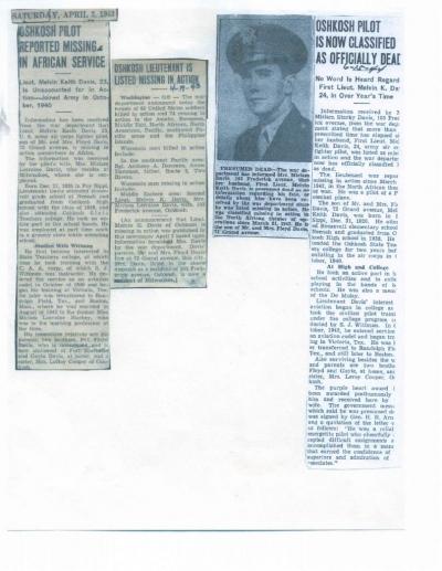 85th-FS-pilot-Lt.-Melvin-Keith-Davis-Newpaper-clippings-regarding-MIA.-Evelyn-Davis-collection-via-her-family