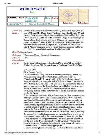85th-FS-pilot-Lt.-Melvin-Keith-Davis-Oshkosh-Public-Museum-Letter-page-2-2