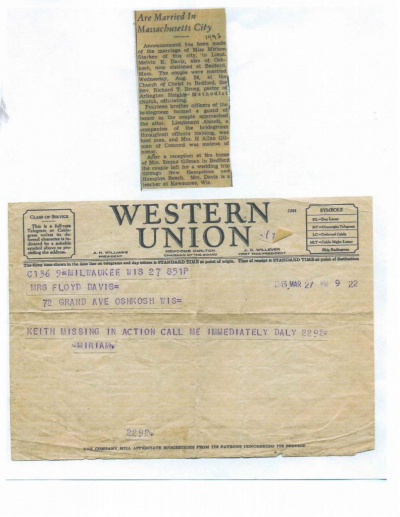 85th-FS-pilot-Lt.-Melvin-Keith-Davis-wedding-announcement-and-Western-Union-telegram-regarding-MIA.-Evelyn-Davis-collection-via-her-family
