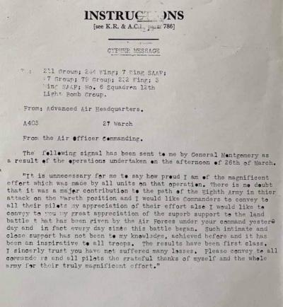 86th-FS-Robert-Allard-message-from-Montgomery-to-Bates-regarding-support-of-British-8th-Army.-Robert-Allard-collection-via-Forrest-Allard